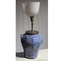 Lampe en céramique décor bleu blanc