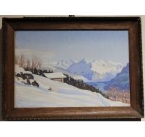 """Gouache """"Lac de montagne"""" signée J. KEISER"""