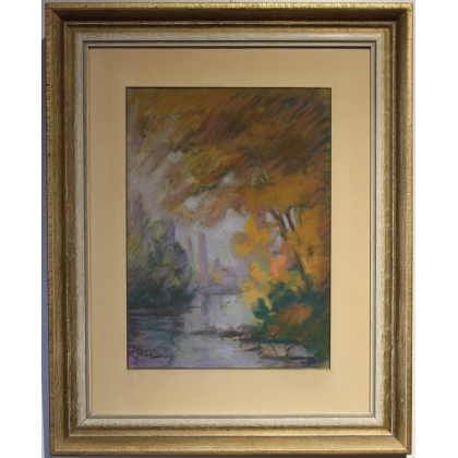 """Pastel """"Bords de l'Arve"""" signé L. SALZMANN"""