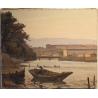 """Tableau """"Barque sur l'Arve"""" signé L. SALZMANN"""