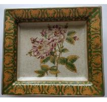 Vide-poche en porcelaine, décor roses
