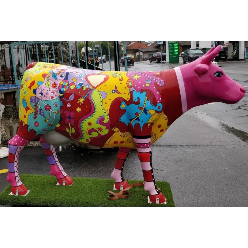 Vache taille nature Lignes multicolores