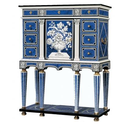 Cabinet en laque bleu Romeo par Claude DALLE