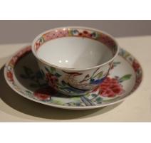 Tasse en porcelaine chinoise oiseau bleu
