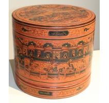 Boite à bétel Birmane en bois laqué orange