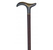 Canne poignée en métal damasquiné or