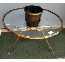 Table basse ronde en verre, porte plante