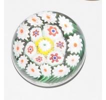 Sulfure Millefiori, fleurs blanches sur fond vert