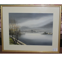 "Watercolor ""Lakeside"", signed"