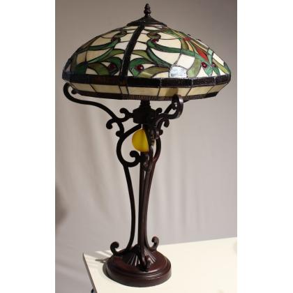 Lampe style Tiffany décor feuillage et boule jaune