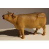 Vache beuglant en bois sculpté