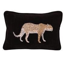 Coussin brodé léopard rectangulaire, sur fond noir