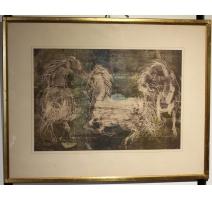 """Lithographie """"Trois chevaux"""" signée ERNI"""