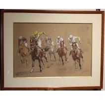 """Pastel """"Course de chevaux"""" signée JF MALUPINA"""
