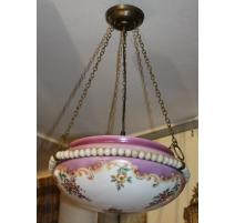 Suspension en opaline peinte décor fleurs