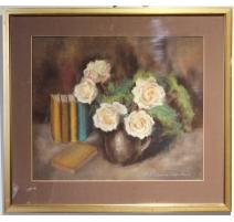 """Pastel """"Bouquet de roses"""" signé J. SCHMID"""