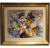 """Pastel """"Harmonie d'automne"""" signé J. SCHMID"""