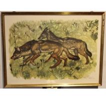 """Reproduction de gravure """"Loups"""" de HAINARD"""