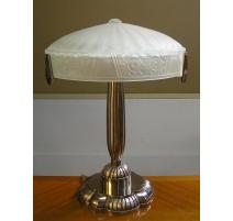 Lampe Art Déco en métal argenté avec abat-jour