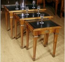 Lot de 3 tables gigognes Directoire dessus cuir