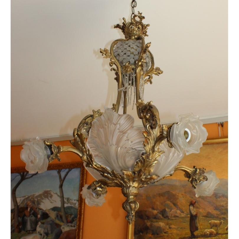 Lustre style Napoléon III en bronze doré
