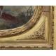 Trumeau en bois sculpté orné d'un médaillon peint
