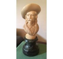 """Buste en ivoire """" Buffalo Bill """""""