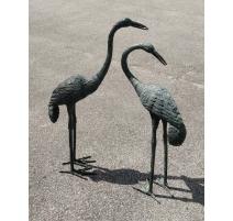 Paire de hérons en bronze