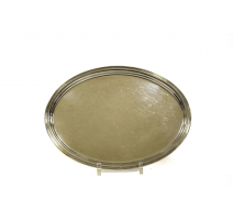 Plateau ovale à bordure droite en argent 800