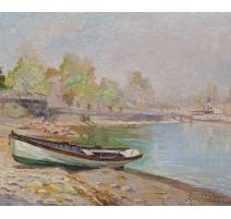 """Tableau """"Barque dans la rade"""" signé Louis BAUDIT"""
