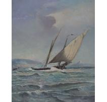 """Tableau """"La Bise"""" signé Louis BAUDIT 1947"""