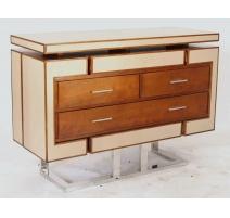 Commode Azur en bois et cuir beige