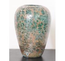Vase canopé Corail émaillé or et turquoise, petit