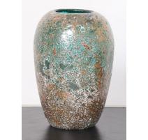 Vase canopé Corail émaillé or et turquoise, grand