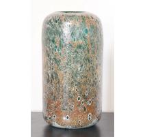 Vase cilyndrique Corail émaillé or et turquoise pe