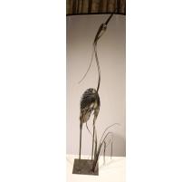 """Sculpture en fer """"Héron"""" signé JARRY"""