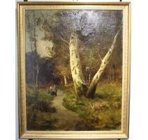 """Tableau """"Chemin de forêt"""" signé R. SCOTT"""