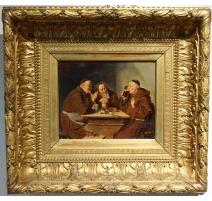 """Tableau """"Trois curés au repas"""" signé GRISON"""