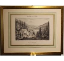 """Gravure """"Vue de Val-Orbe"""" par BOURGEOIS"""