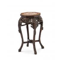Sellette chinoise en bois exotique, dessus marbre