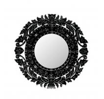 Miroir Murano circulaire en verre teinté noir