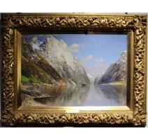"""Tableau """"Fjord"""" signé J. HOLMSTEDT"""