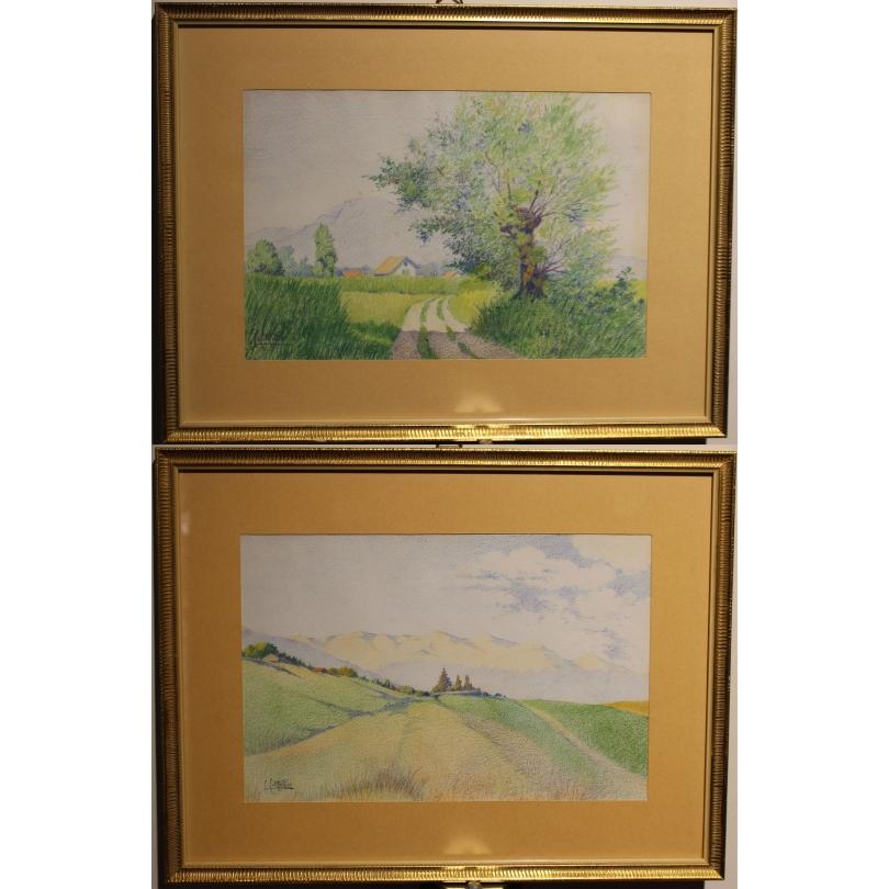 """Paire de pastels """"Genève"""" signés L.C. MULLER"""
