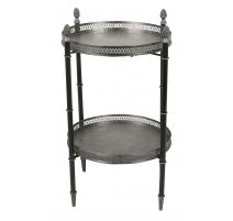 Table à deux plateaux, noir et argenté