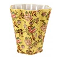 Cache pot polylobé en porcelaine jaune