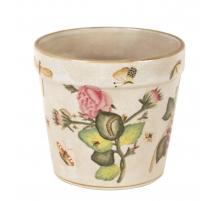 Cache pot en porcelaine beige Papillons