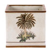 Cache pot carré en porcelaine Palmier