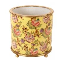 """Cache-pot rond en porcelaine """"Fleurs"""", jaune Grand"""