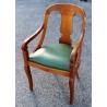 Fauteuil Gondole style Directoire, cuir vert