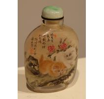 """Snuff bottle peinte sous verre """"Chats"""""""